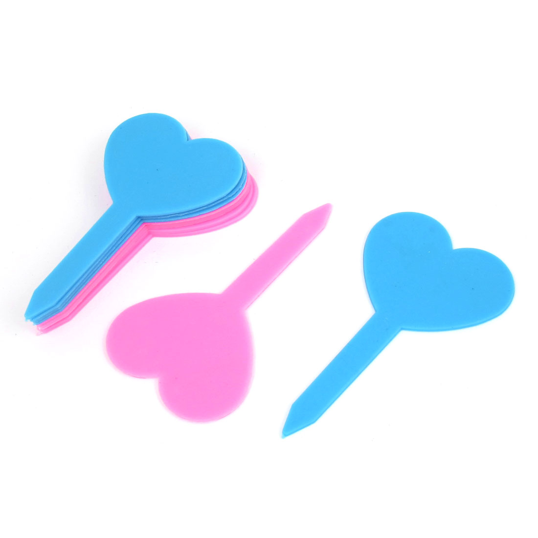 Pink Blue Heart Shaped Garden Yard Potted Plants Tag Stick Label Marker 10pcs