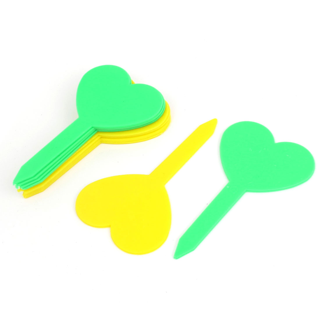 Yellow Green Heart Shaped Garden Yard Potted Plants Tag Stick Label Marker 10pcs