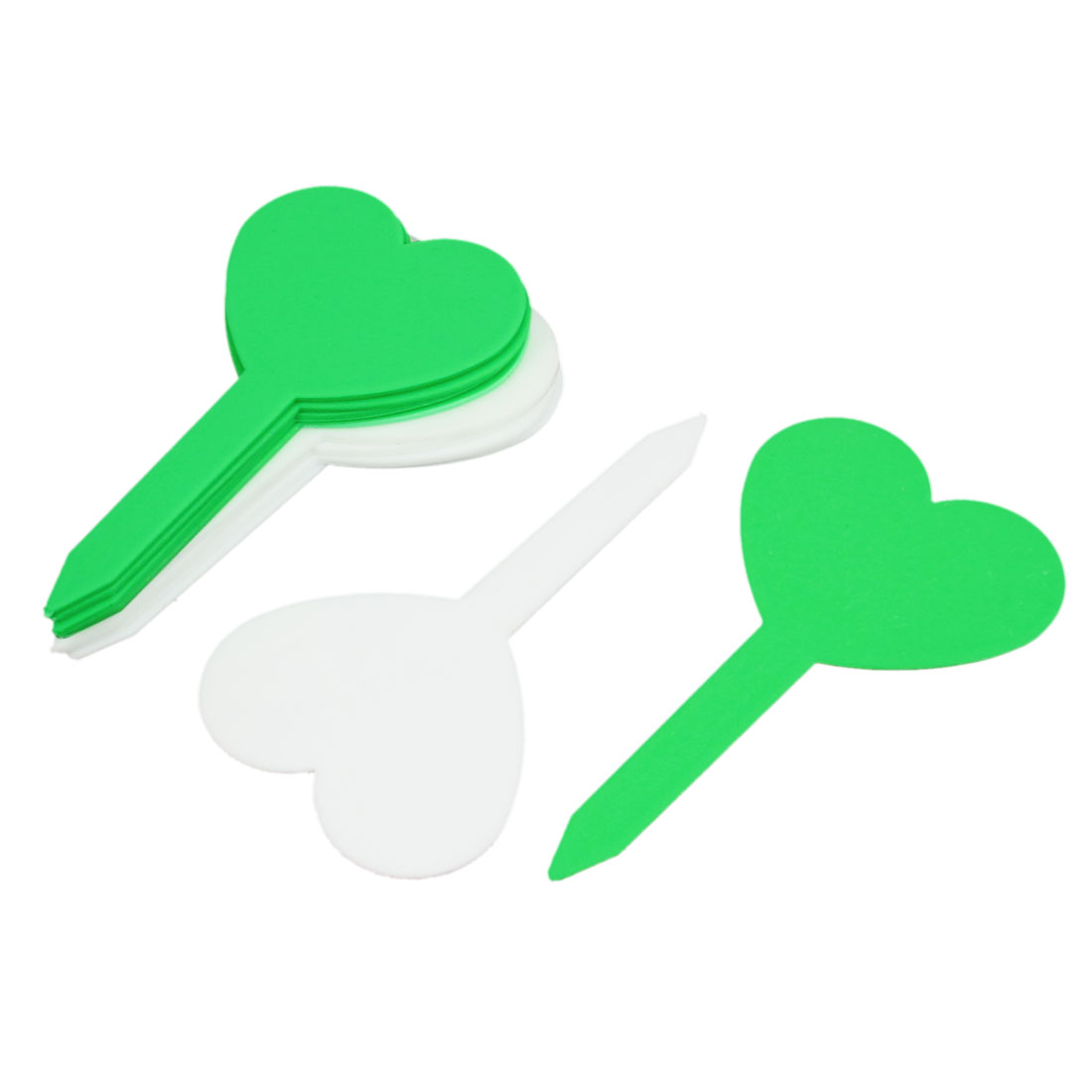 Green White Heart Shaped Garden Yard Potted Plants Tag Stick Label Marker 10pcs