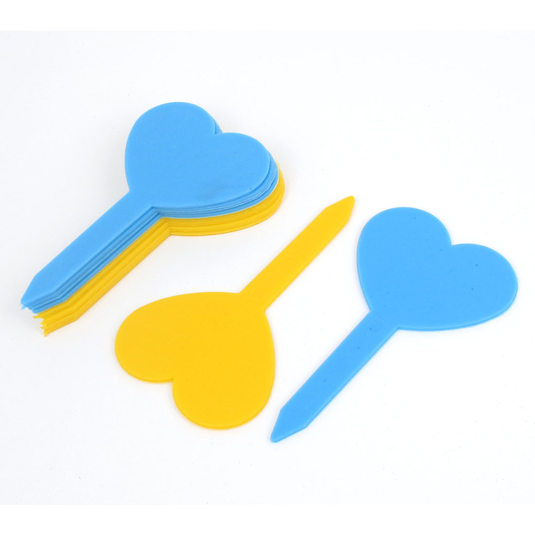Yellow Blue Heart Shaped Garden Yard Potted Plants Tag Stick Label Marker 10pcs