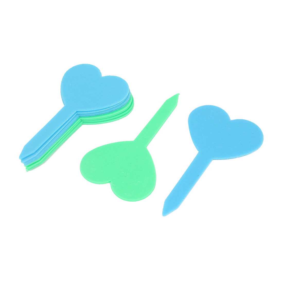 Green Blue Heart Shaped Garden Yard Potted Plants Tag Stick Label Marker 10pcs