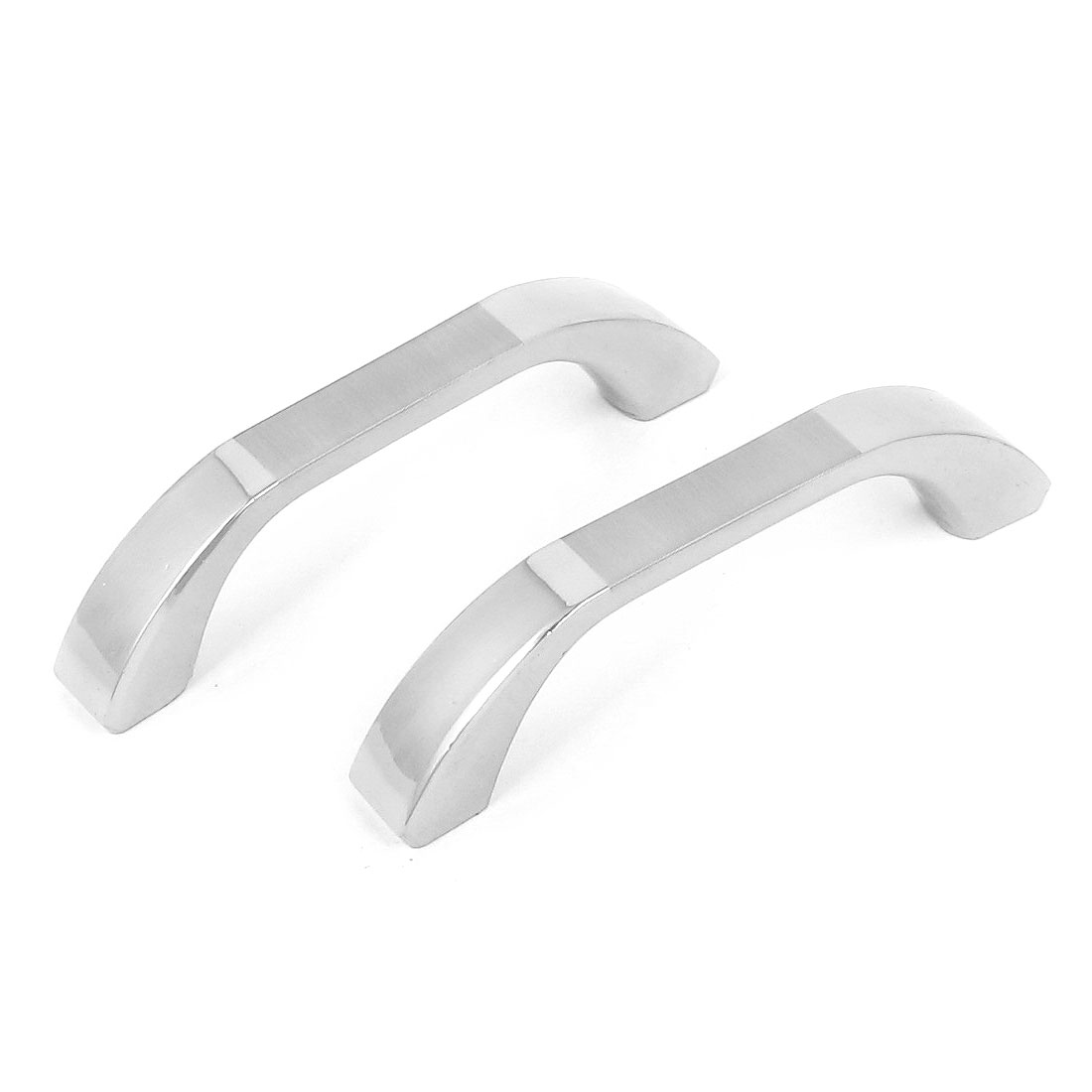 2pcs 75mm Long Zinc Alloy Arch Knob Cabinet Door Pull Handle Silver Tone