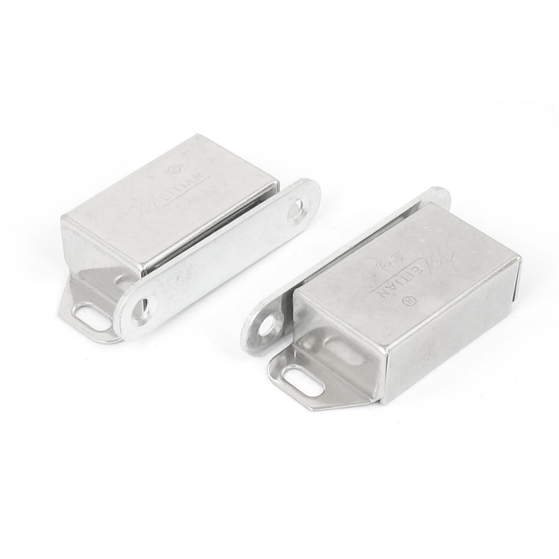 Cabinet Cupboard Door Stainless Steel Magnetic Catch Latch Holder Silver Tone 2pcs
