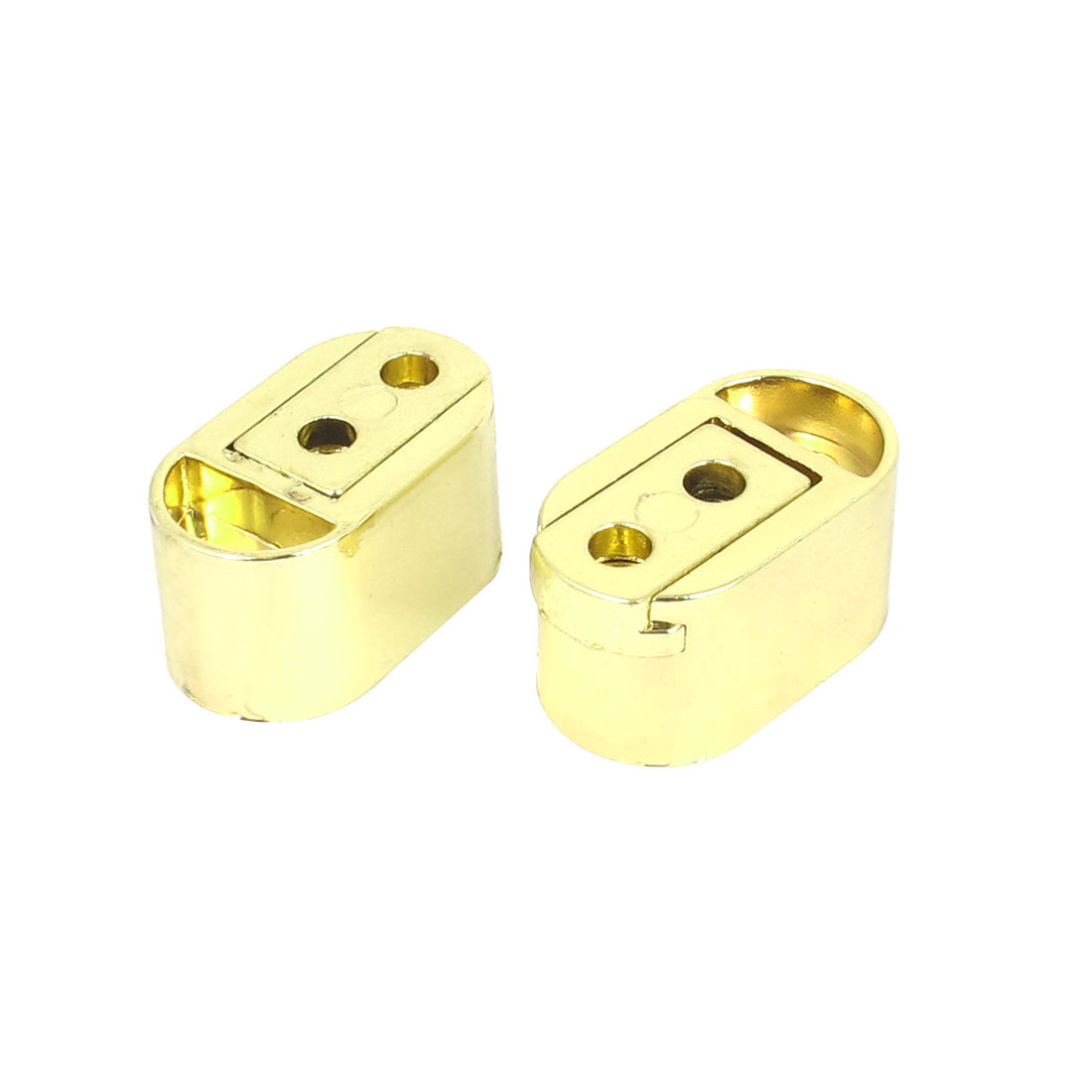 Wardrobe Cabinet Hanging Rail Rod End Socket Bracket Support Fitting Gold Tone 2pcs