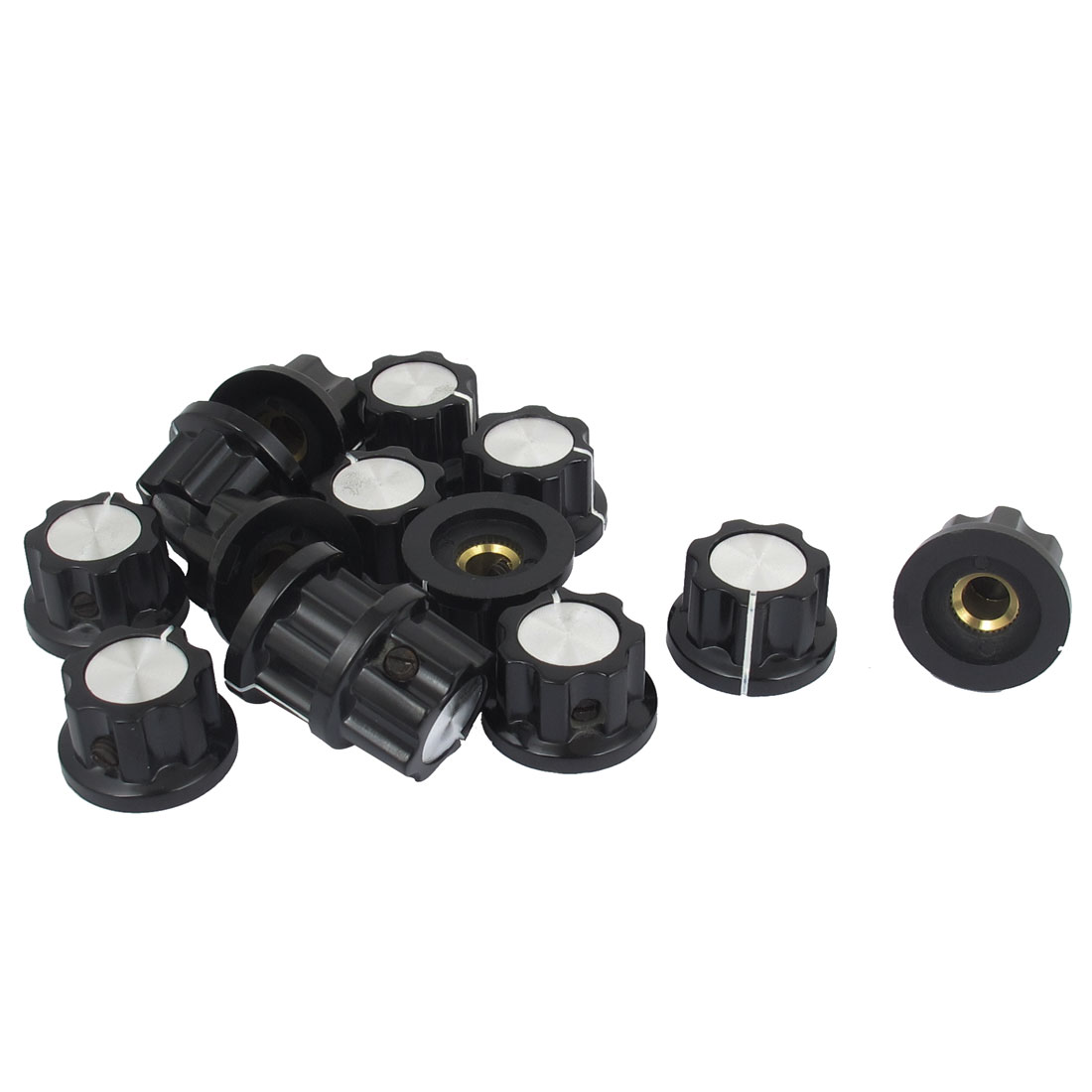 14pcs Plastic Shell Round Potentiometer Knobs Cap Cover 6mm Dia. Hole Black