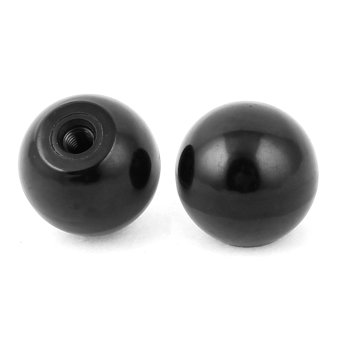 2 Pcs Round M8 Threaded Blind Hole 40mm Dia Ball Knob Handle Black