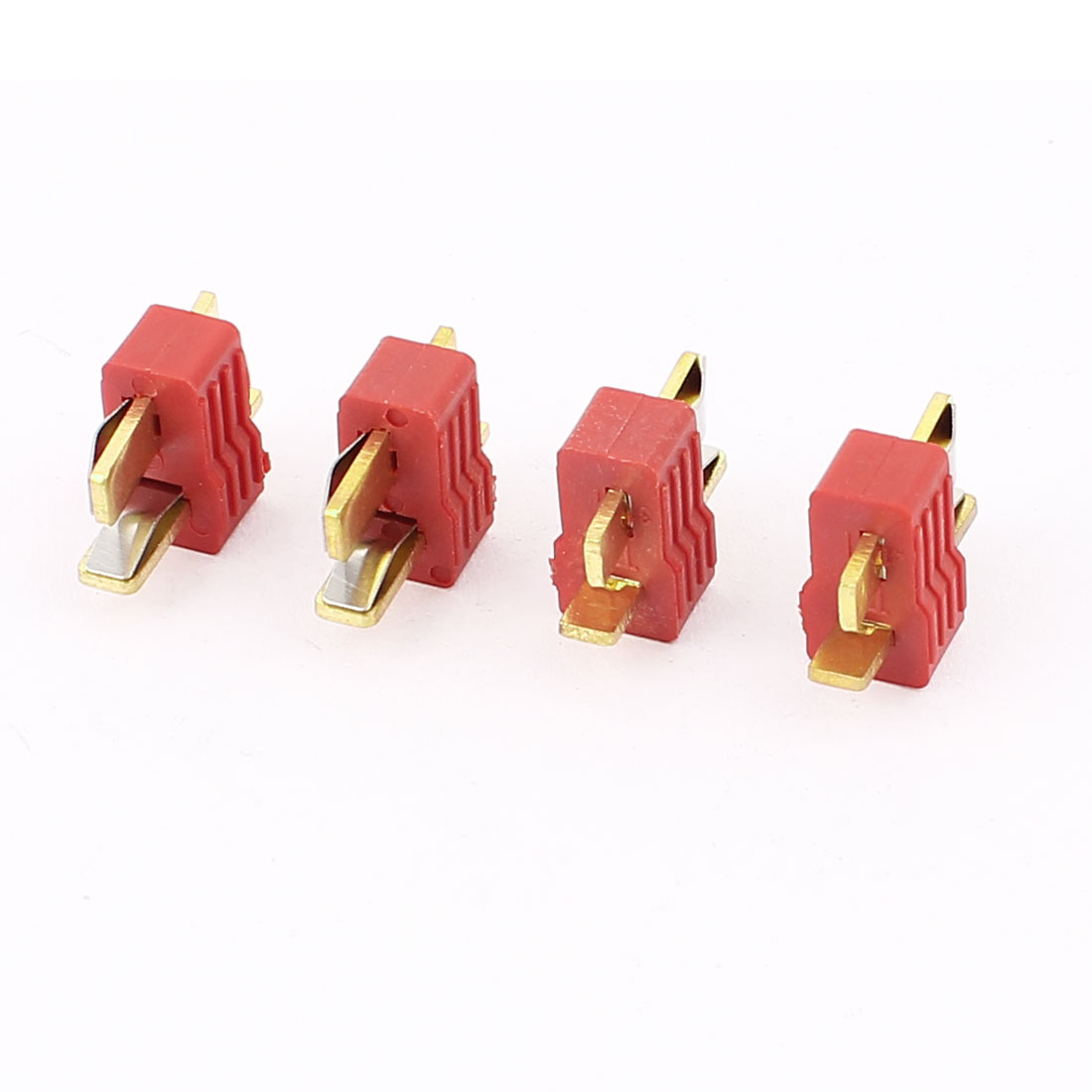 4 Pcs Red Gold Tone T Male Connector for RC DIY Model Toys
