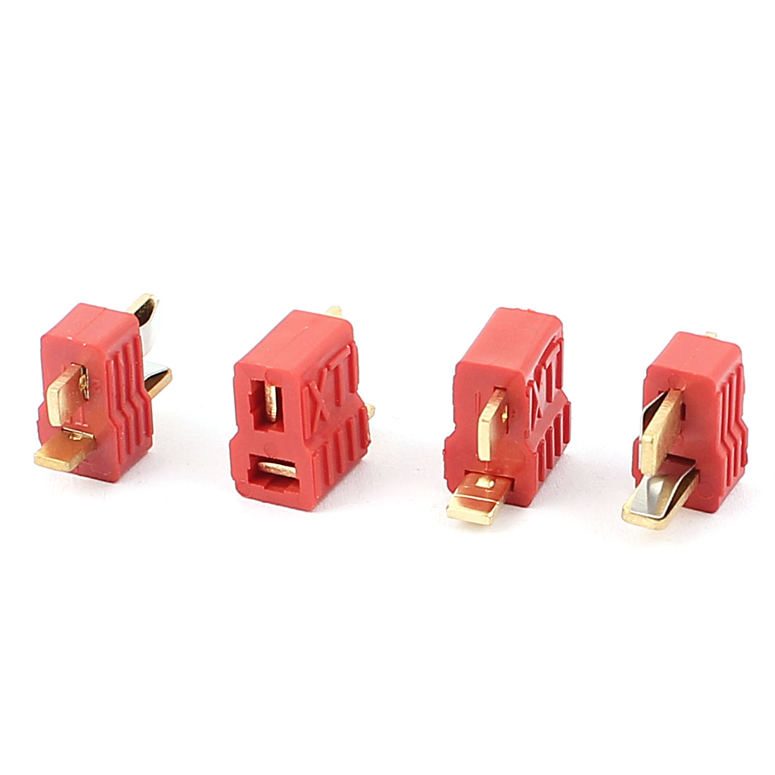 2 Pairs Red Gold Tone T Plug Male to Female Connector for RC Model Toy