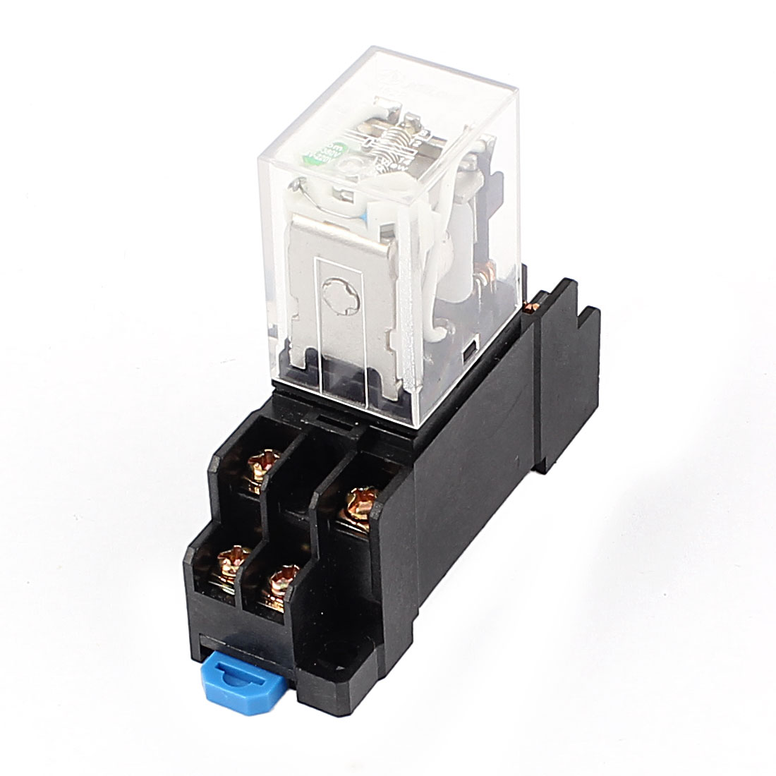HH52P DC 12V Coil Power Relay 8 Pin DPDT 35mm DIN Rail Mounted w Socket