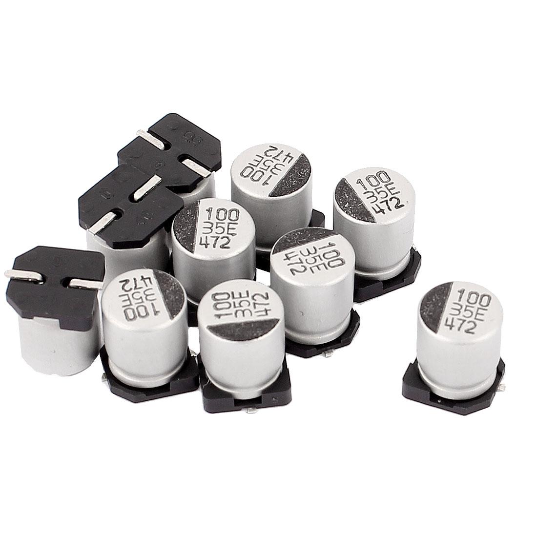 10pcs 100uF 35V SMD Aluminum Electrolytic Capacitors 6mm x 8mm