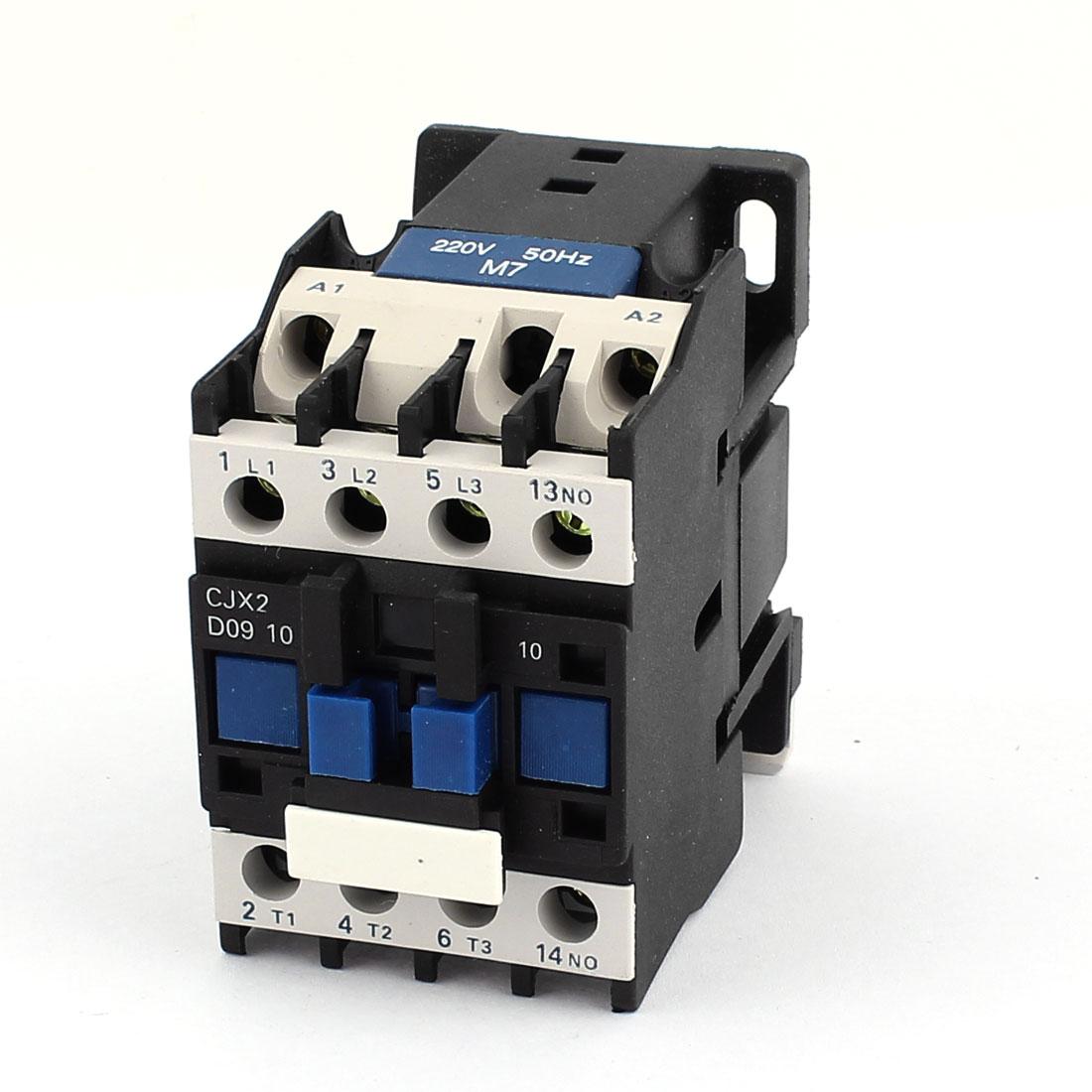 CJX2-0910 Motor Control 220V 9A 50/60Hz Coil 3 Pole 1NO AC Contactor
