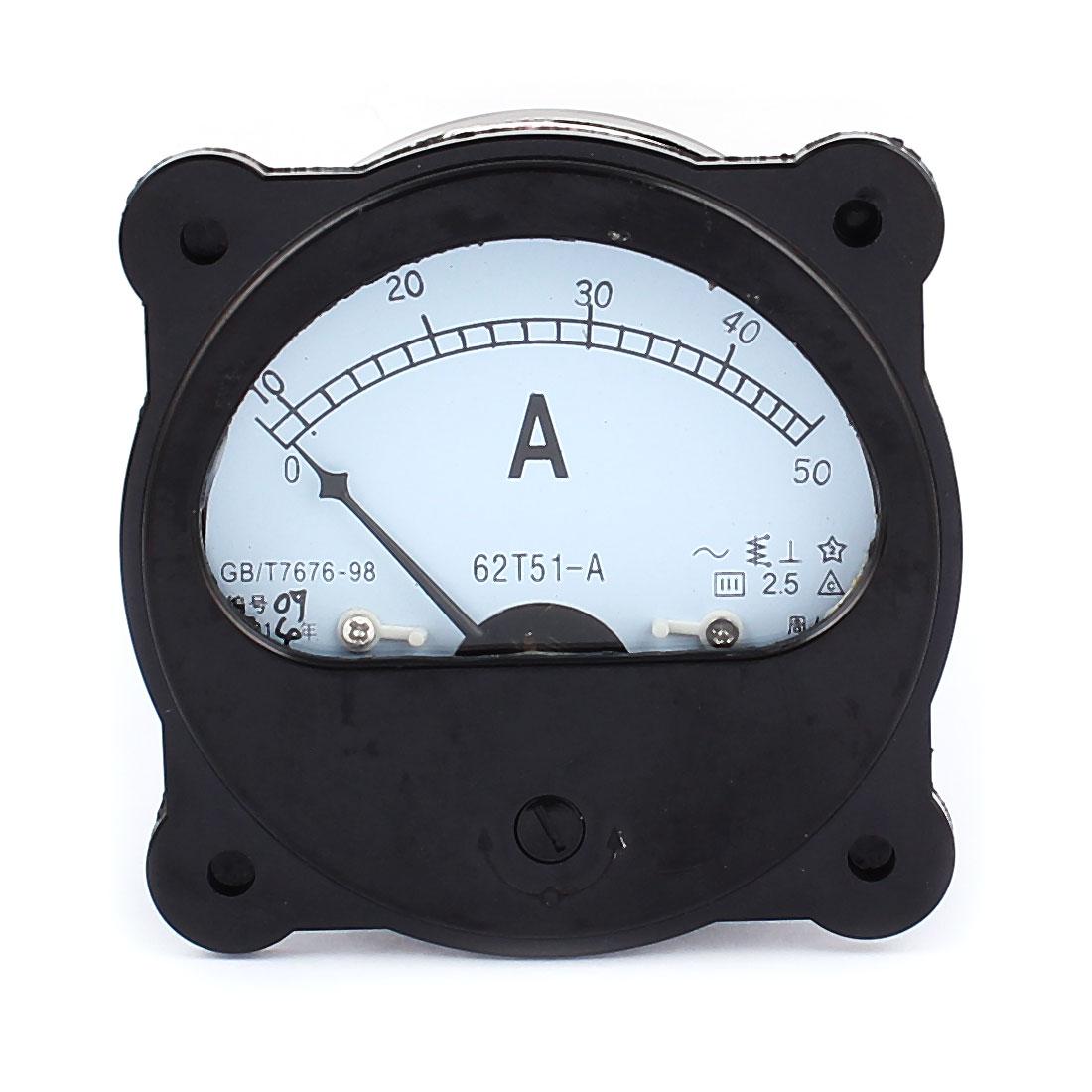 AC 0-50A Dial Panel Analog Ampere Meter Amperemeter Black