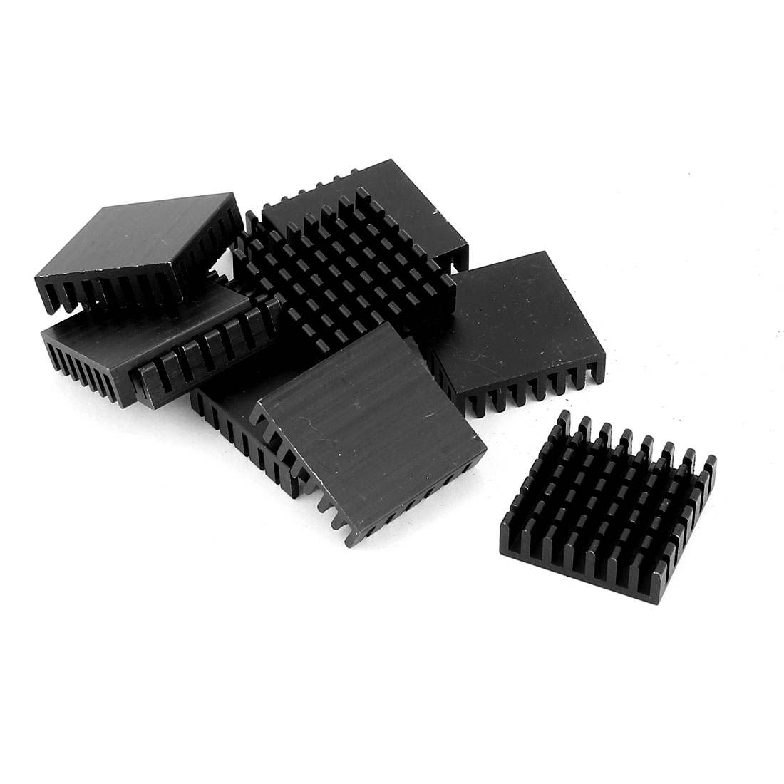 10Pcs 28x28x8mm Plastic Mini CPU Thermal Heat Sink Cooling Fin Black