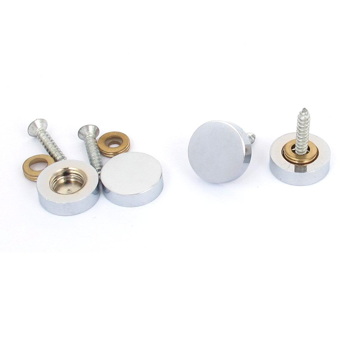 4 Pcs 12mm Dia Tea Table Decorative Screw Cap Mirror Nails Silver Tone