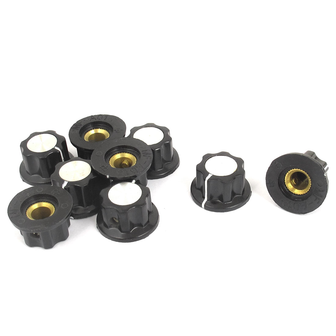 9pcs Black Plastic 6mm Thread Srew Type Round Potentiometer Knob Cap MF-A01
