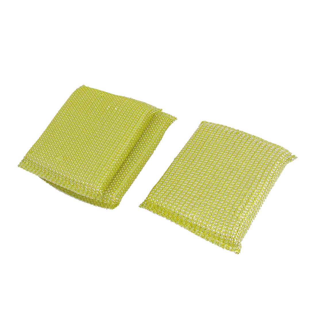 Kitchenware Dish Bowl Pot Cup Cleaner Scrubing Pads Cleaning Tool Yellow 3pcs
