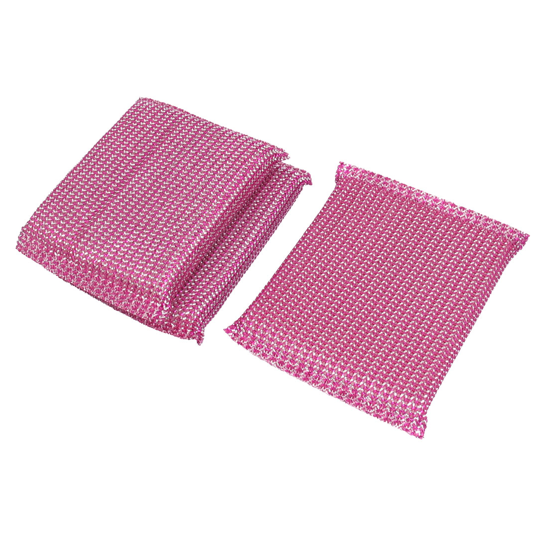 Kitchen Dish Bowl Pot Cup Cleaner Sponge Scrub Pads Cleaning Tool Fuchsia 3pcs