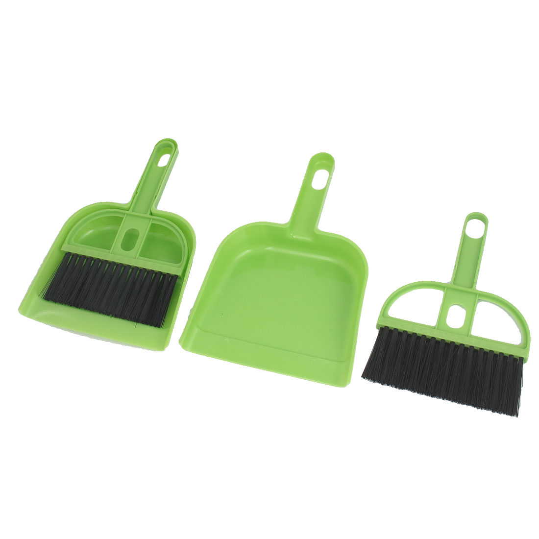 Desktop Computer Keyboard PC Plastic Cleaning Brush Mini Dustpan Duster Cleaner Green 2 Set