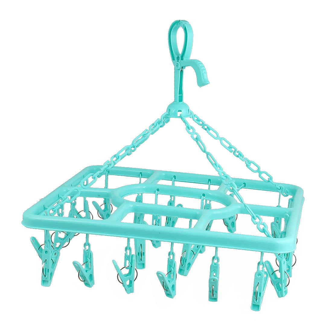 Green Plastic Rectangle Shaped Frame 24 Pegs Clothes Socks Drying Rack Clips Hanger