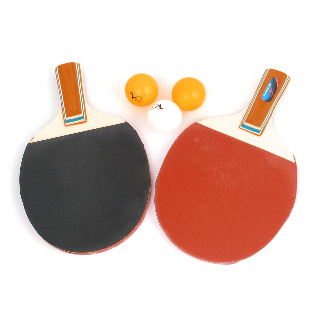 5 in 1 Wooden Ping Pong Paddles Recreational Table Tennis Racket Bat Balls