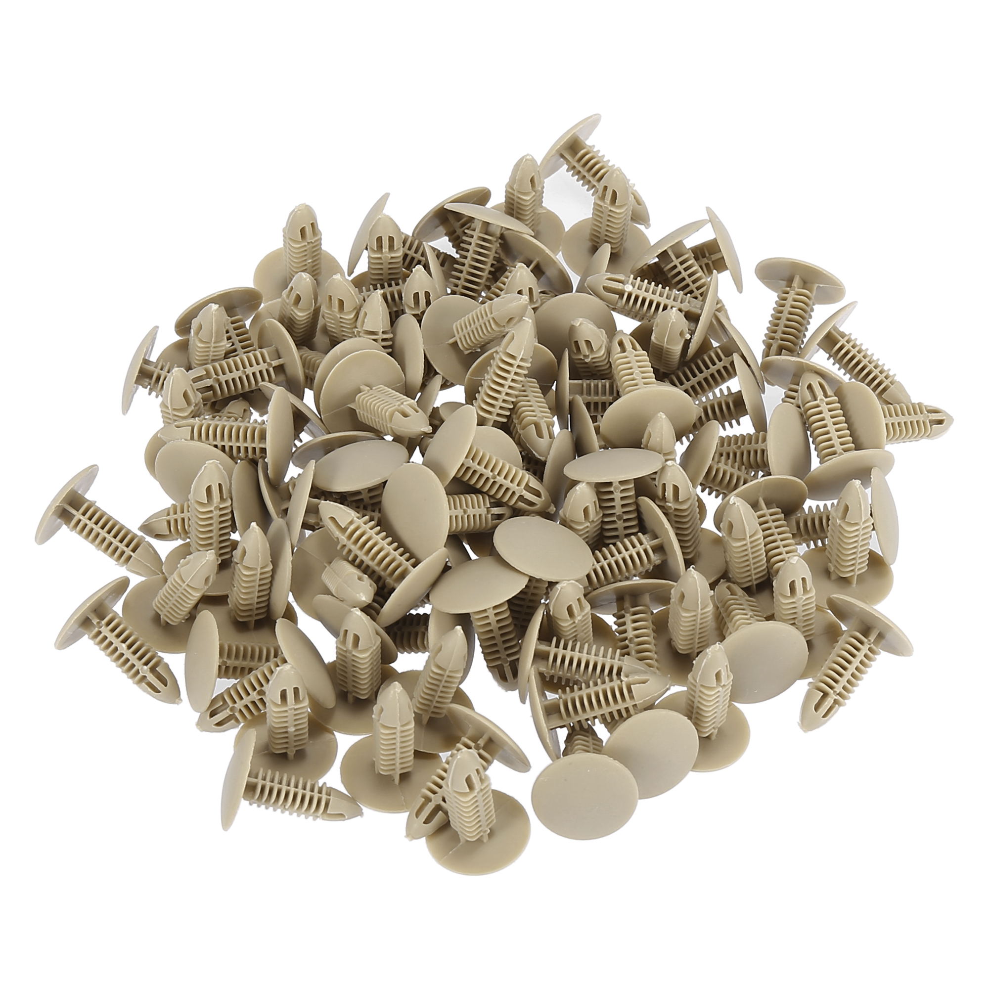 100 x 6mm Hole Plastic Rivets Fastener Push Clips Khaki for Car Auto Fender