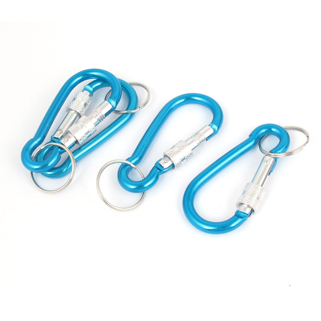 4pcs Blue Metal Carabiner Clamp Spring Gate Clip Split Key Ring Chain Keyring Keychain