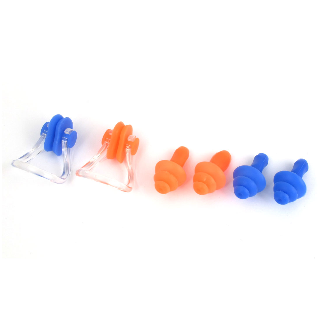 Swim Swimming Diving Guard Tool Protector Orange Blue Ear Earplugs Nose Clip 2 Set