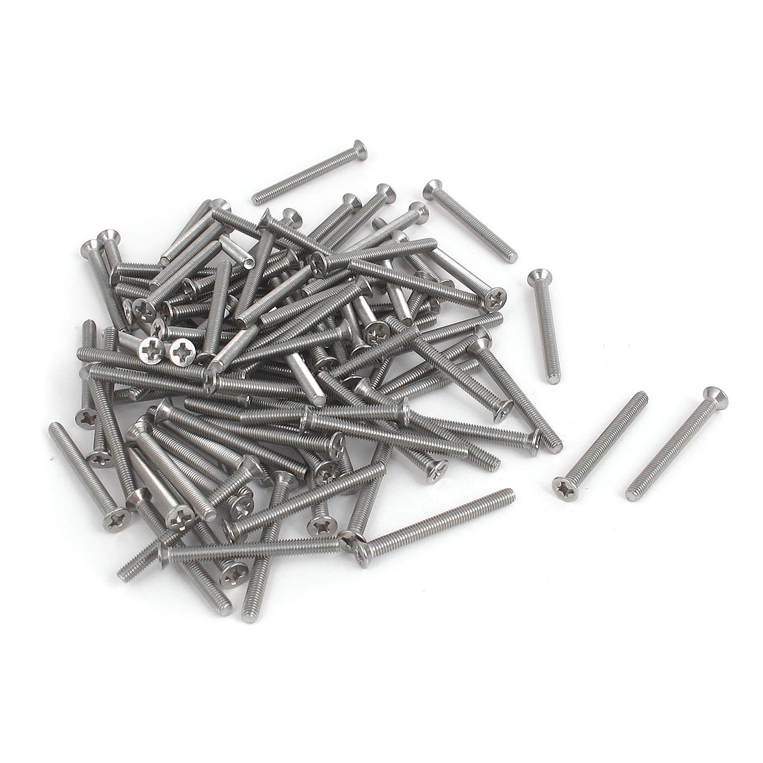 100pcs 3mm Thread Dia Gray Metal Crosshead Phillips Flat Head Screw Fastener Bolt