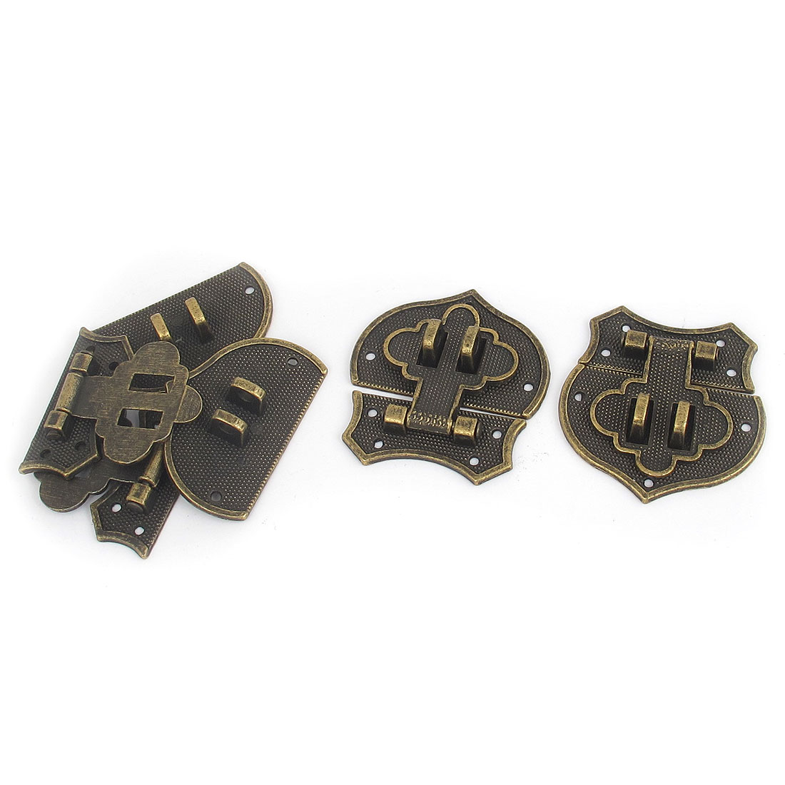 4pcs Bronze Tone Metal Antique Style Suitcase Jewelry Box Case Hasp Latch Chest Lock Locking Hinge