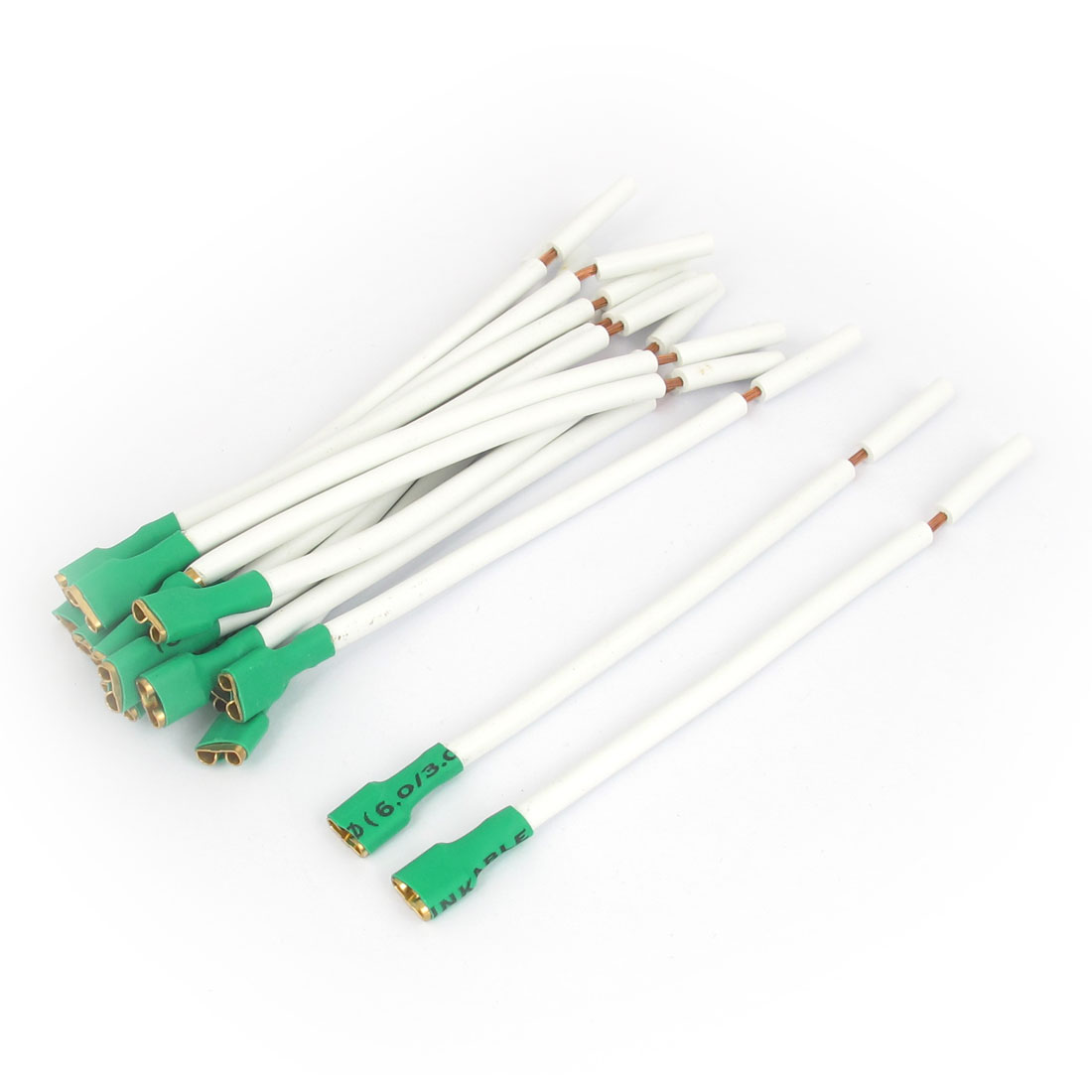 Motorcycle Car Audio Speaker Female Terminal Connector Cable Cord 13cm Length White Green 15pcs