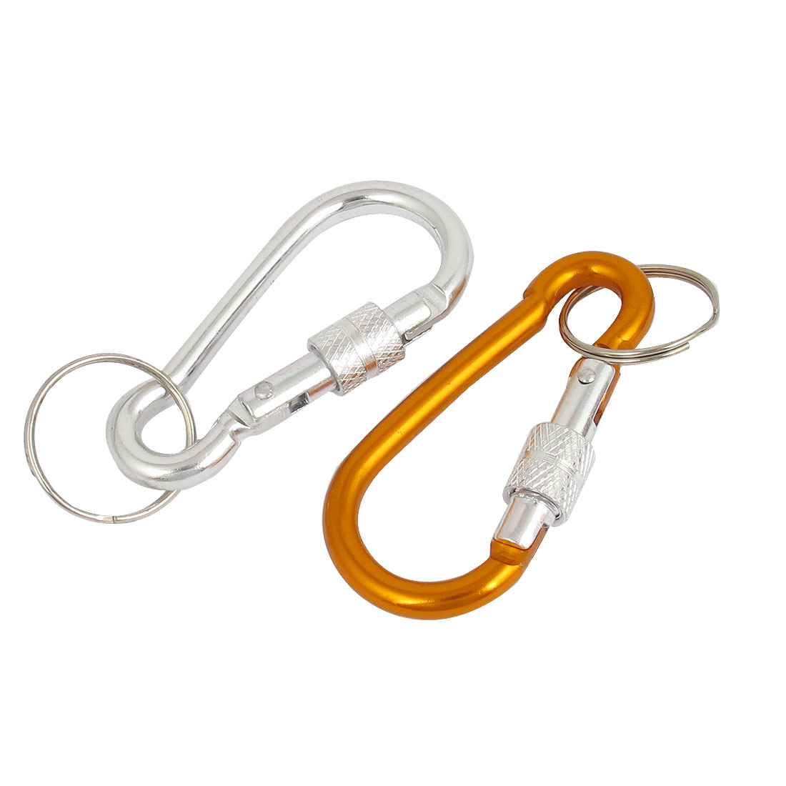 2pcs Silver Tone Gold Tone Metal Screw Locking Carabiner Clamp Spring Gate Clip Split Key Ring Chain