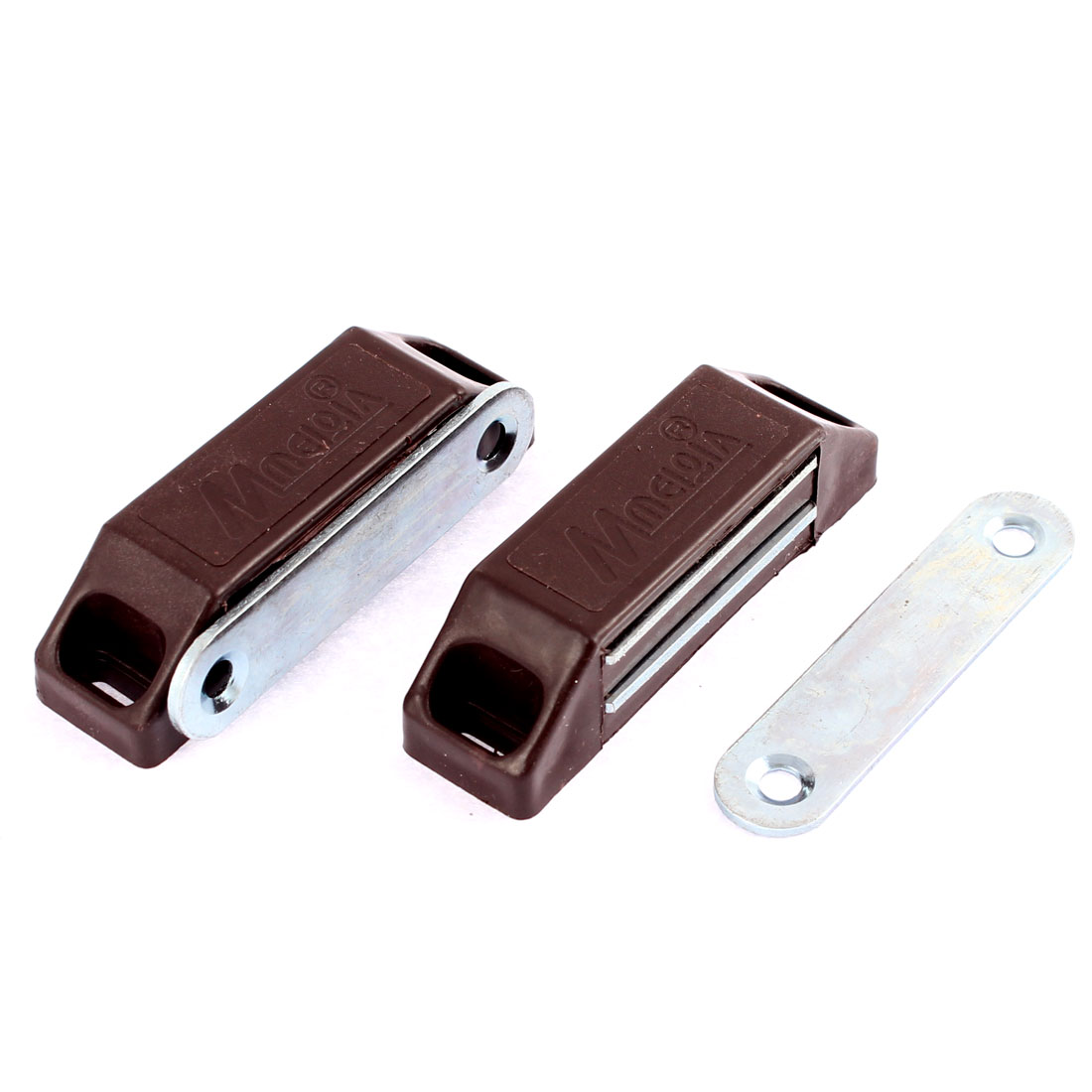 2 Pcs Cupboard Cabinet Furniture Magnetic Catch Door Latch 60mm x 18mm Dark Brown