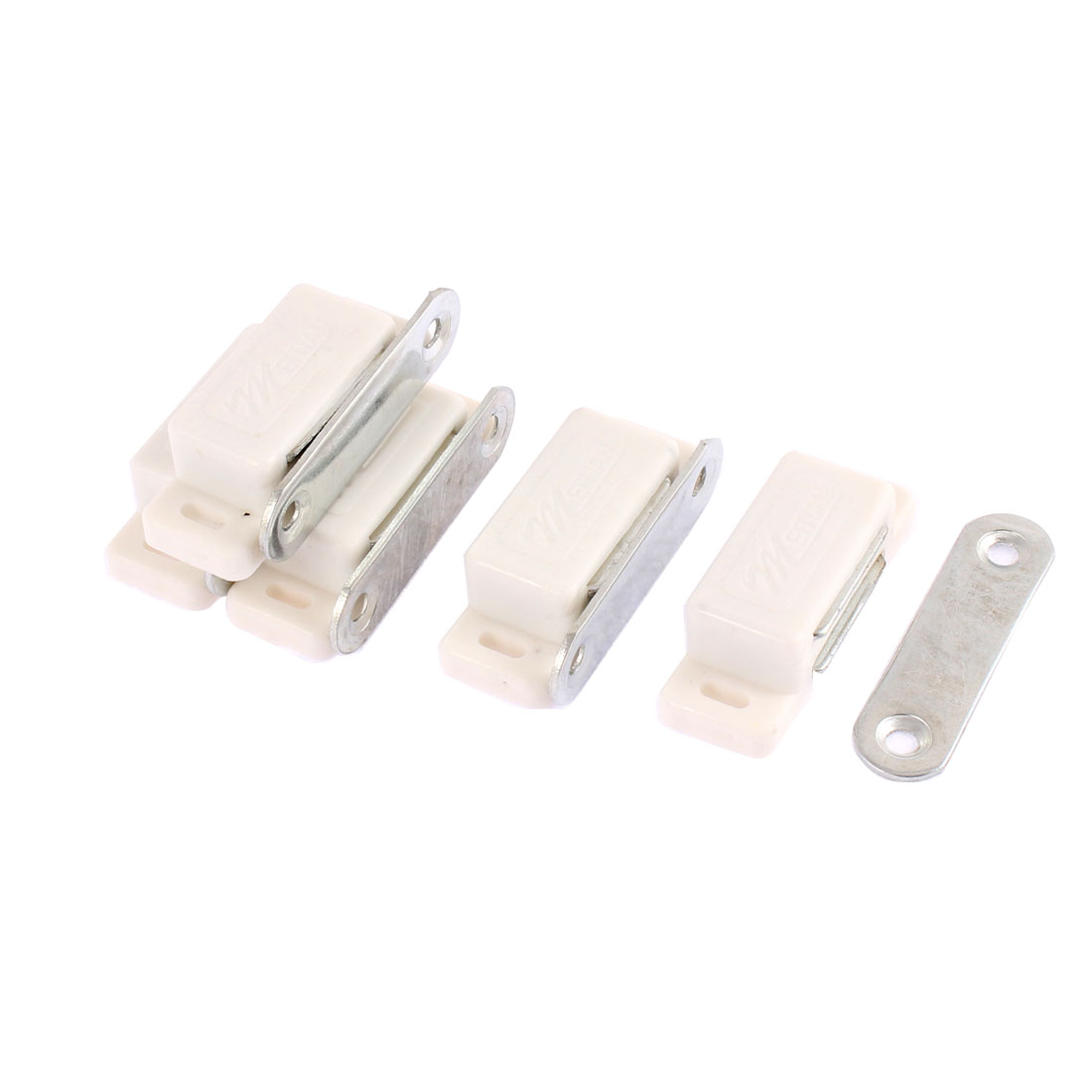 5 Pcs Wardrobe Cabinet Furniture Magnetic Catch Door Latch 46mm x 18mm White