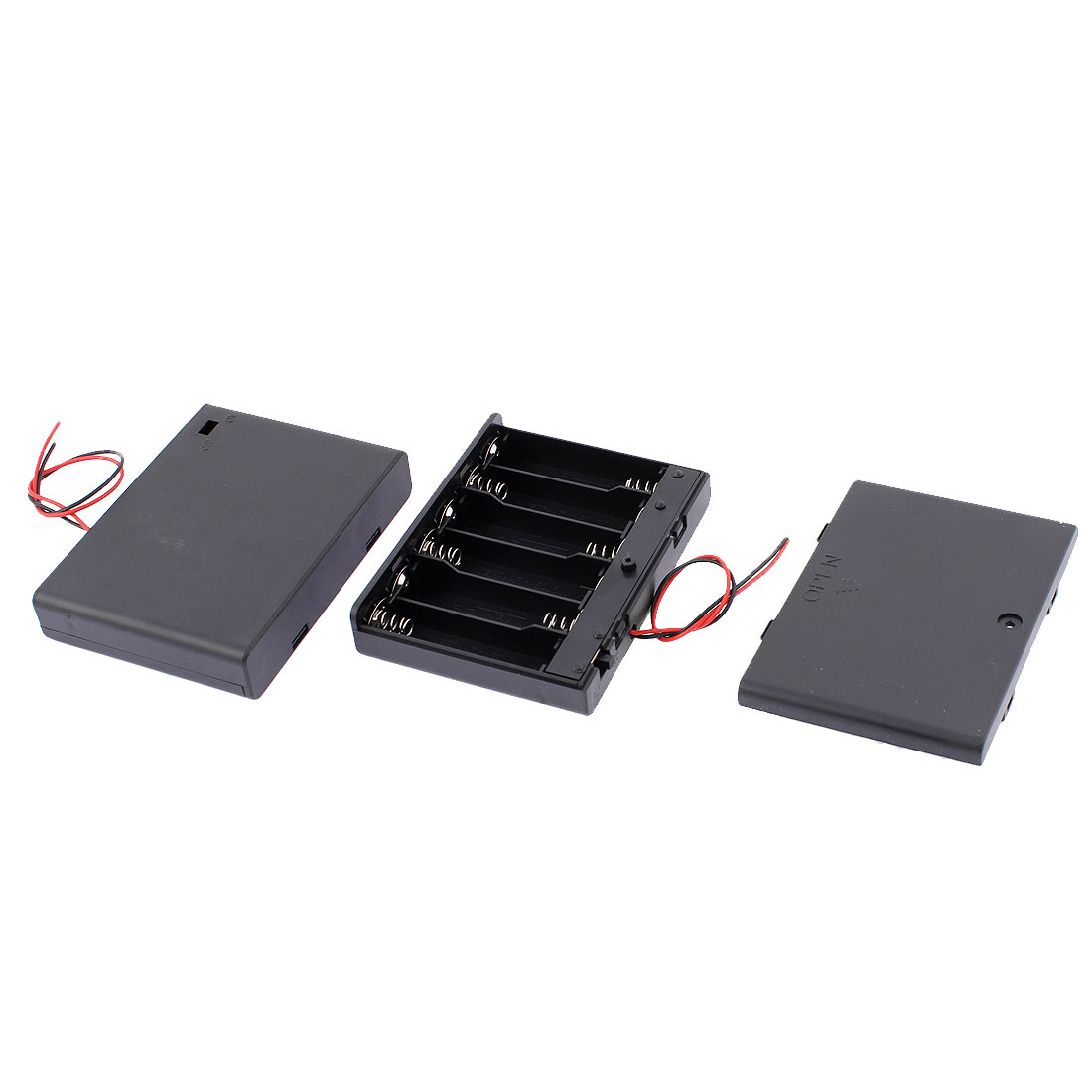2 Pcs Plastic 2 Wires 6 x 1.5V AA Battery Holder Box Case Storage w Lid