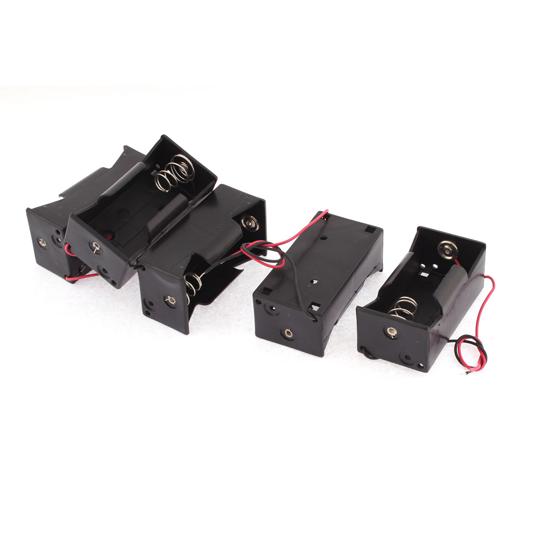 5 Pcs Plastic 2 Wires 1 x 1.5V Size D Battery Case Holder Storage