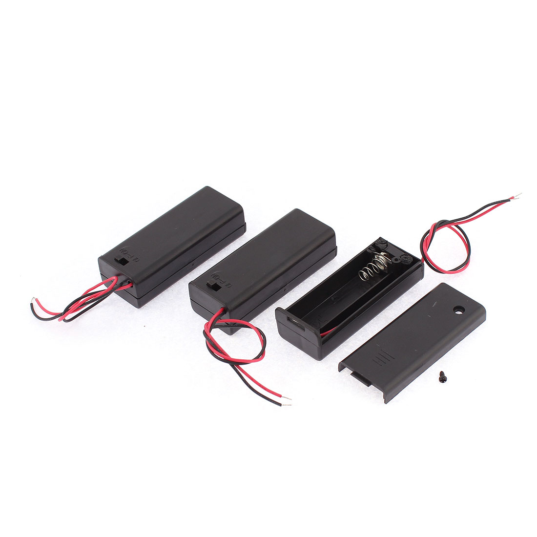 3 Pcs Plastic 2 Wires 1 x 1.5V AA Battery Clip Holder Box Case w Lid