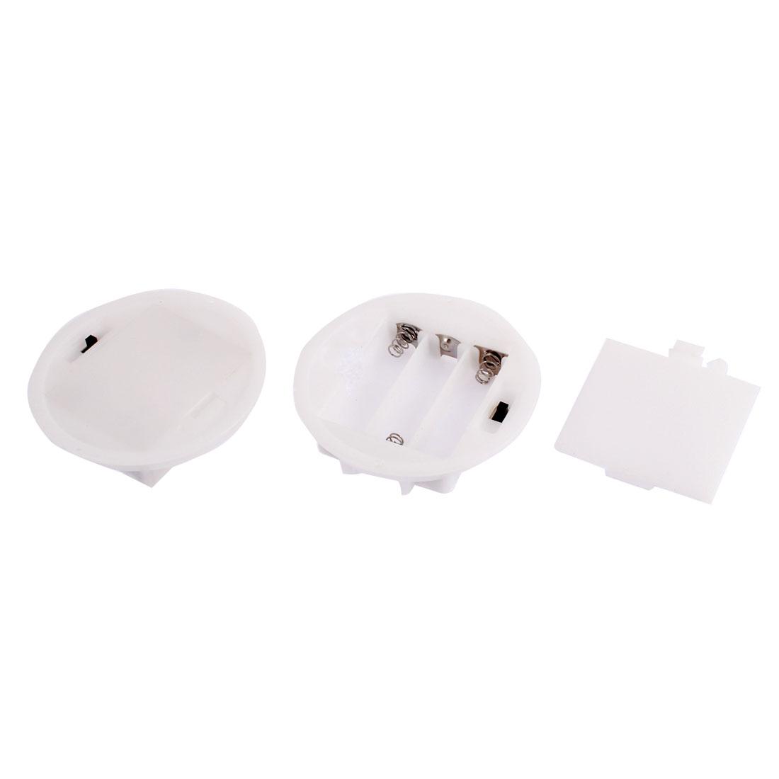 Plastic Round 3 x 1.5V AA Battery Clip Holder Box Case White 2 Pcs