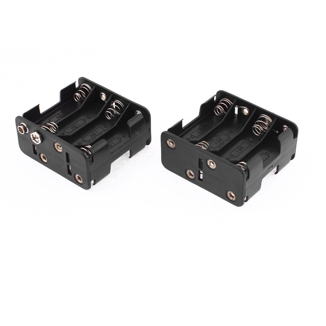 2 Pcs Plastic Double Sided 8 x 1.5V AA Battery Holder Box Case Black