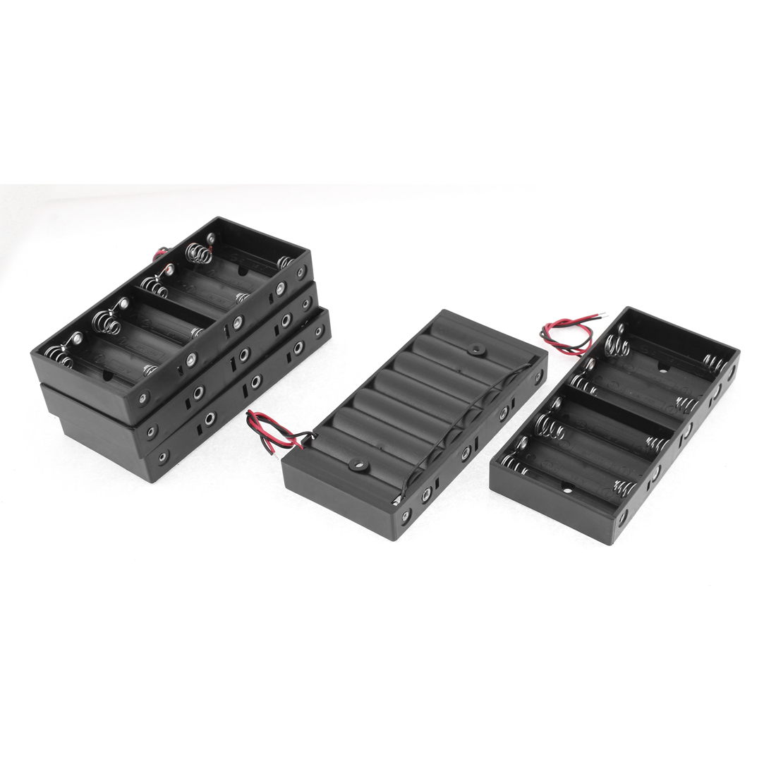 5 Pcs Plastic 2 Wires 8 x 1.5V AA Battery Clip Holder Box Case Black