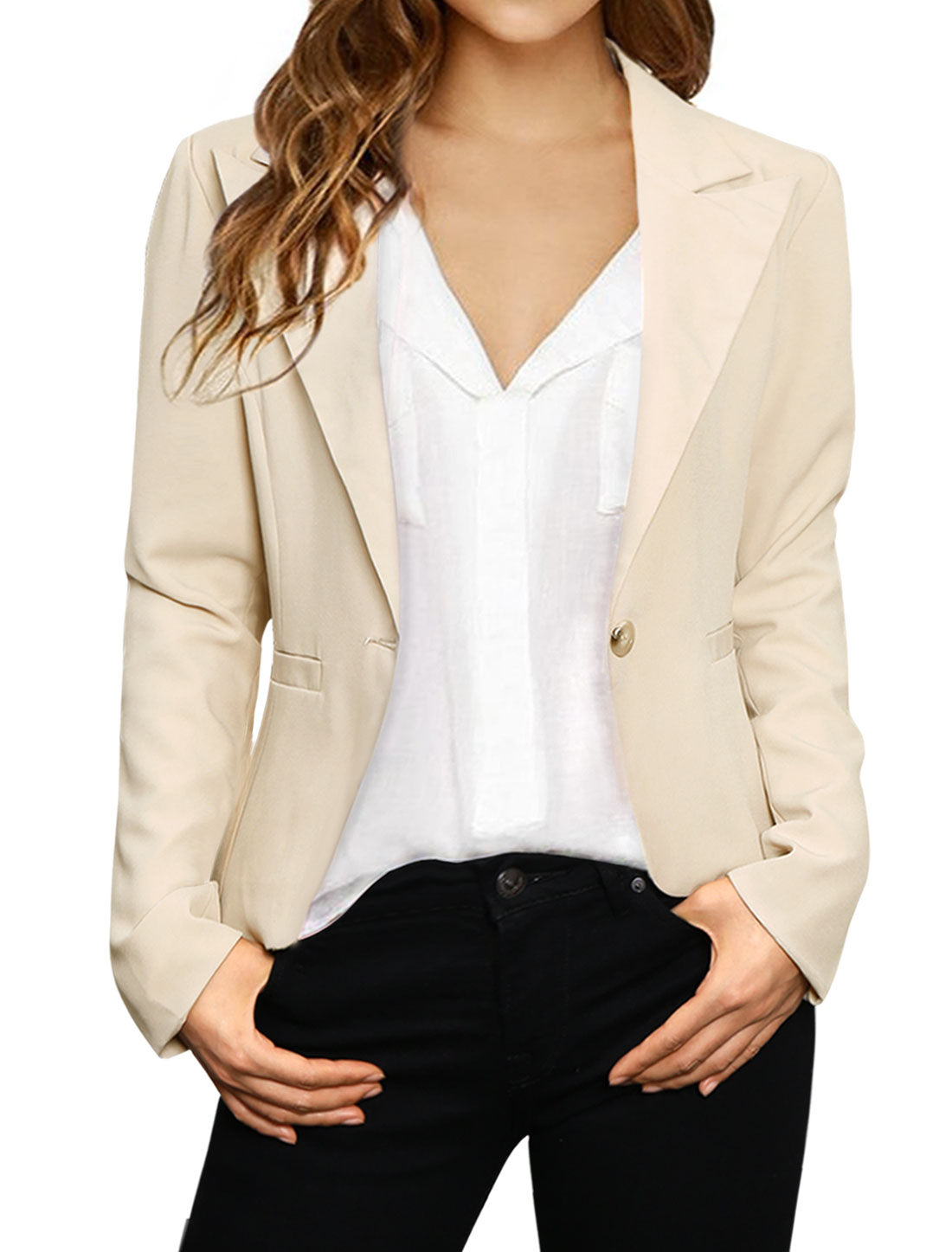 Ladies Long Sleeves One-Button Elbow-Patch Blazer Jacket Beige L