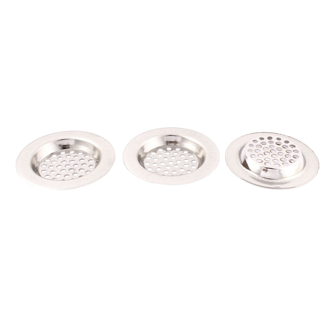 Kitchen Stainless Steel Sink Strainer Drainer Filter Stopper 3 Inch Dia 3 Pcs