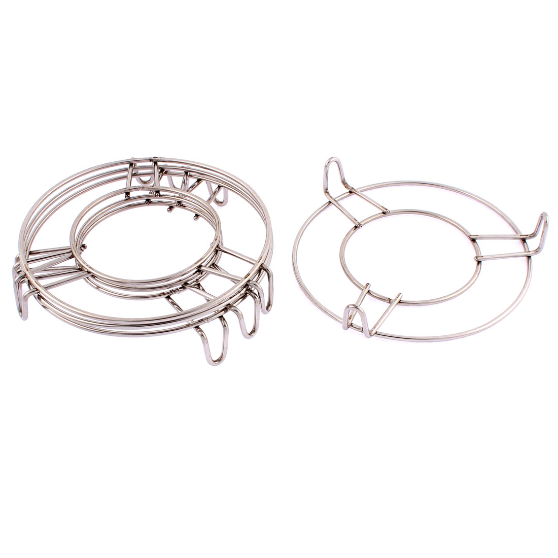 Stainless Steel Round 3 Legs Steaming Rack Stand 5 Inch x 1 Inch 4 Pcs