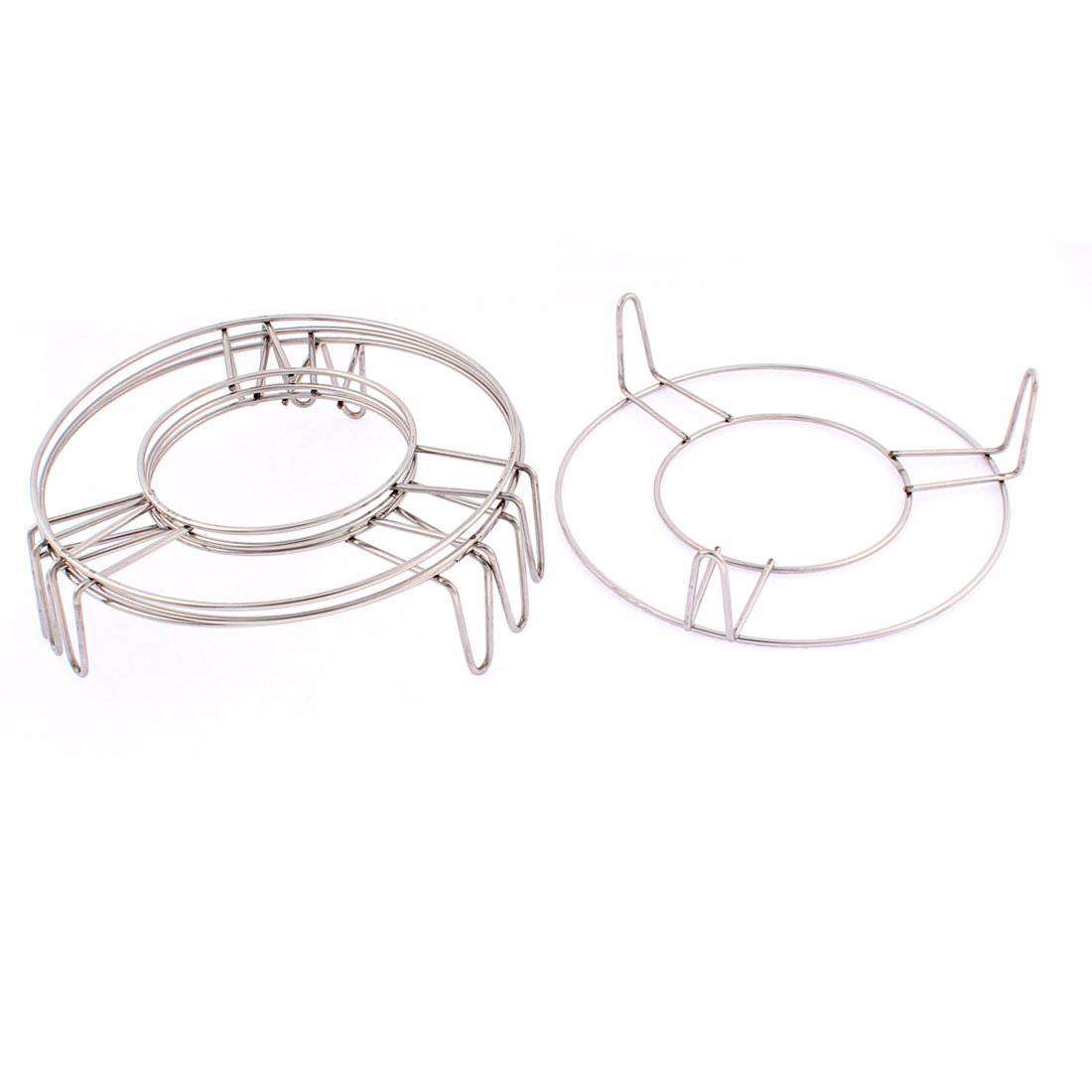 Kitchen Stainless Steel Round Steaming Rack Stand 7 Inch x 2 Inch 4 Pcs