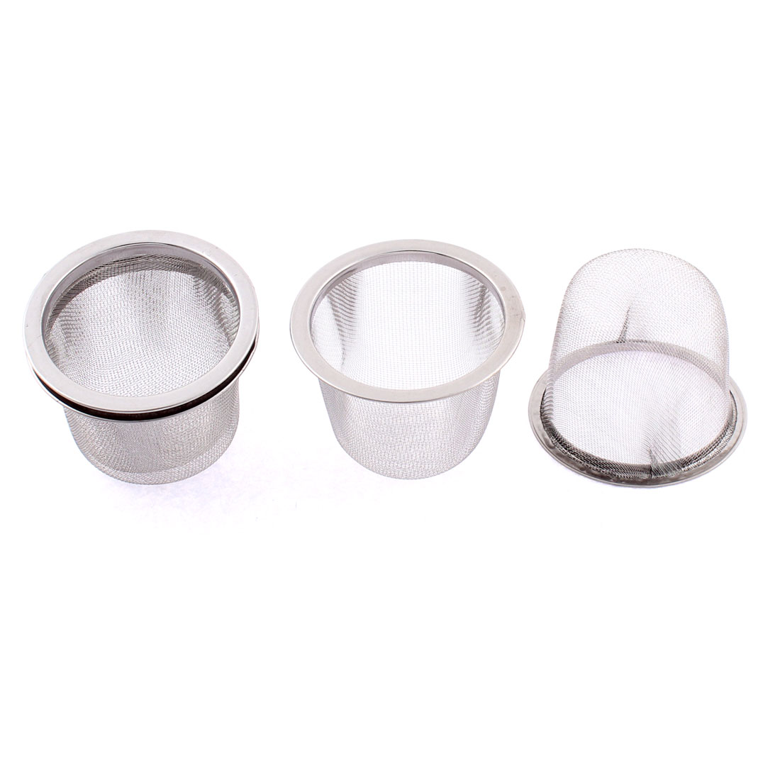 Stainless Steel Round Mesh Tea Infuser Strainer Filter 60mm Dia 4 Pcs