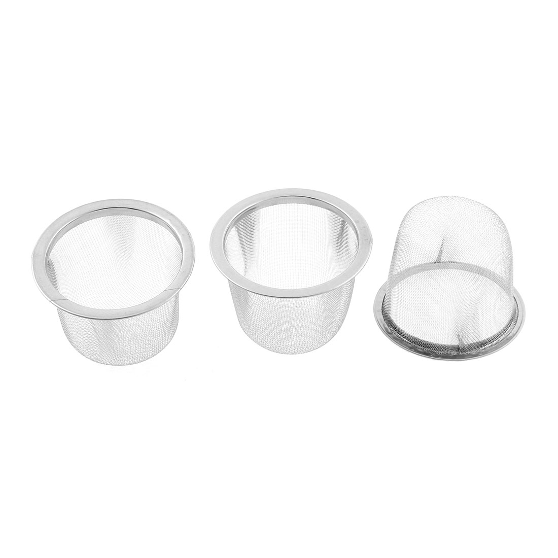 Stainless Steel Round Mesh Tea Infuser Strainer Basket 60mm Dia 3 Pcs