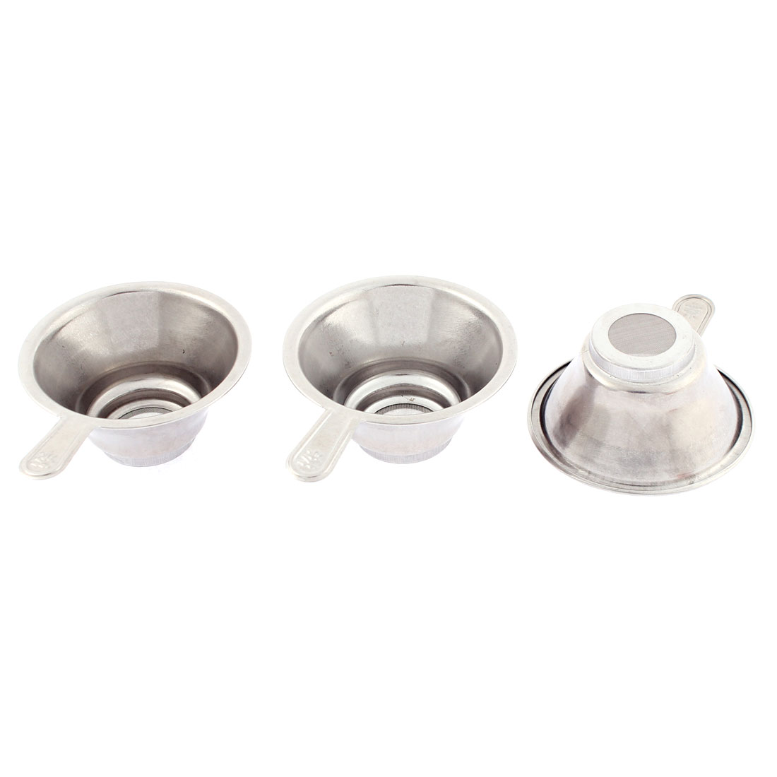 Stainless Steel Mesh Bottom Tea Bowl Strainer Filter 67mm Dia 3 Pcs