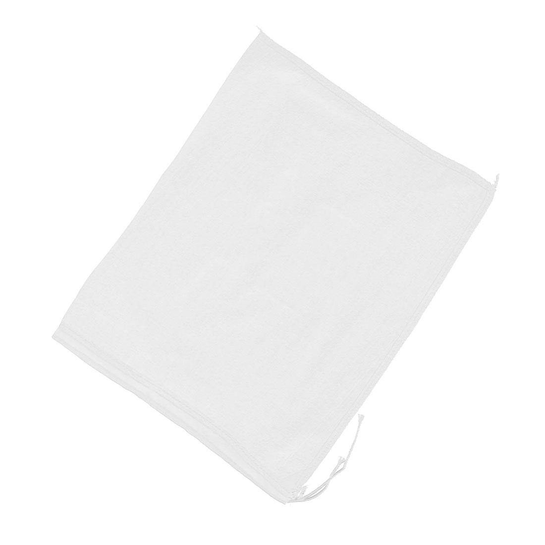 Kitchen Drawstring Seal Soup Food Filter Mesh Bag 35.5cm x 29cm White