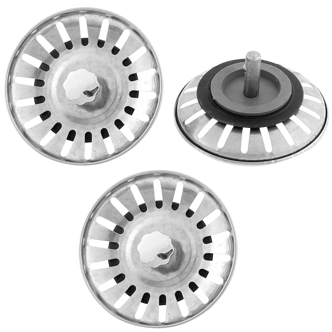 Household Stainless Steel Water Sink Drainer Strainer Filter 78mm Dia 3 Pcs