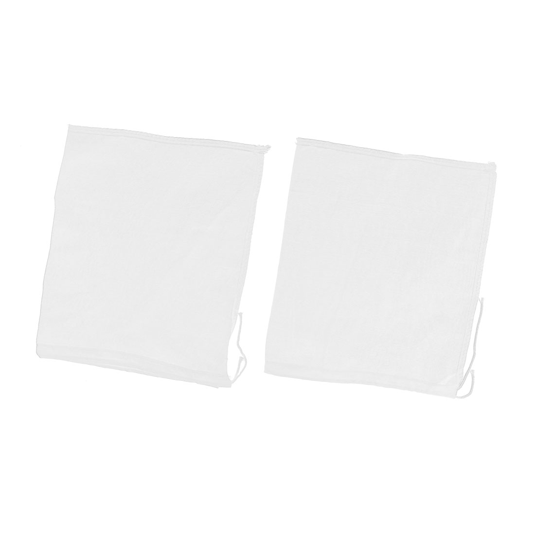 2 Pcs Drawstring Seal Soup Food Filter Mesh Bag 26cm x 23cm White