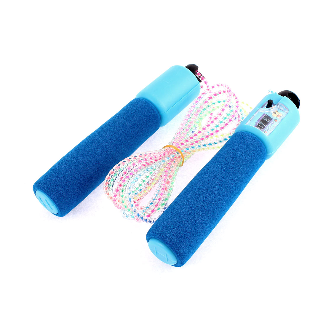 Sponge Handle Fitness Digital Counter Skipping Jumping Rope Blue